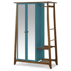 Armário Nasur de 2 Portas em Madeira Maciça C/Espelho - Azul
