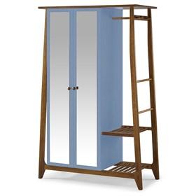 Armário Nasur de 2 Portas em Madeira Maciça C/Espelho - Azul Celeste