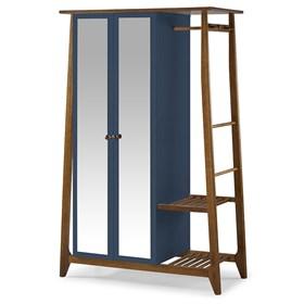 Armário Nasur de 2 Portas em Madeira Maciça C/Espelho - Azul Forte