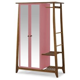 Armário Nasur de 2 Portas em Madeira Maciça C/Espelho - Rosa Forte