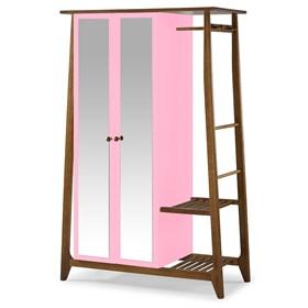 Armário Nasur de 2 Portas em Madeira Maciça C/Espelho - Rosa Pétala