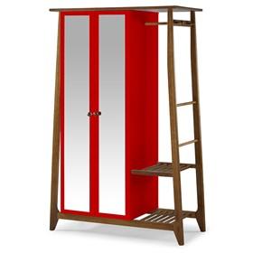 Armário Nasur de 2 Portas em Madeira Maciça C/Espelho - Vermelho