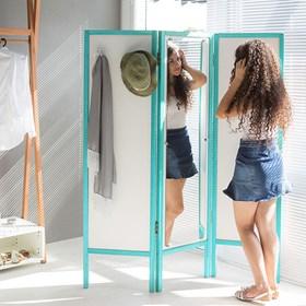 Biombo Crane em Madeira Maciça C/ Espelho - Branco/Azul