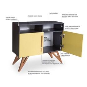 Buffet Preto Kruger com 2 Nichos e 2 Portas Coloridas