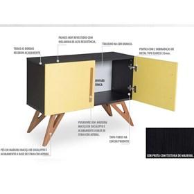 Buffet Preto Kruger com 2 Portas Coloridas