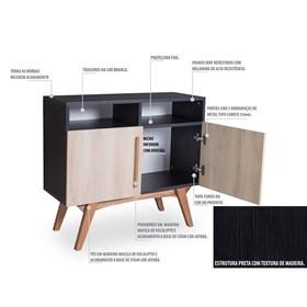 Buffet Preto Medin com 2 Nichos e 2 Portas Coloridas