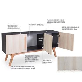 Buffet Preto Medin com 3 Portas Coloridas