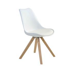 Cadeira Agata C/Base de Madeira Maciça - Branco