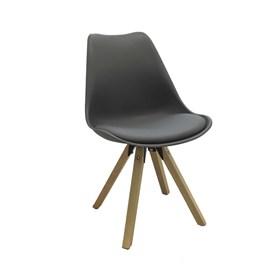 Cadeira Agata C/Base de Madeira Maciça - Cinza