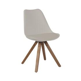 Cadeira Agata C/Base de Madeira Maciça - Nude