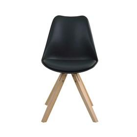 Cadeira Agata C/Base de Madeira Maciça - Preto