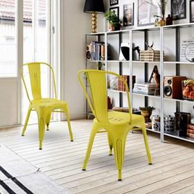 Cadeira Apolo Vintage em Aço Carbono - Amarelo