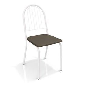 Cadeira Banner em Metal Branco - Marrom