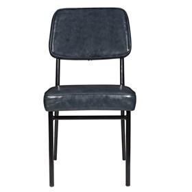 Cadeira Bayonne S/Braço em Metal e Couro