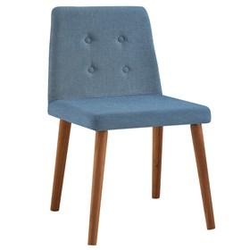 Cadeira Betty C/Pés em Madeira Maciça - Azul Jeans