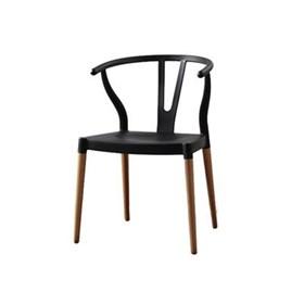 Cadeira Bruges C/Pés em Madeira Maciça - Preto