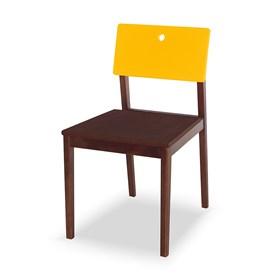 Cadeira Elgin em Madeira Maciça - Imbuia/Amarelo