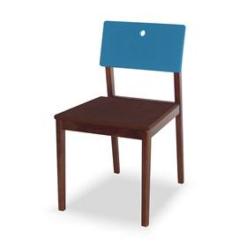 Cadeira Elgin em Madeira Maciça - Imbuia/Azul Ágata