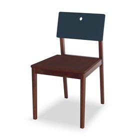 Cadeira Elgin em Madeira Maciça - Imbuia/Azul Marinho