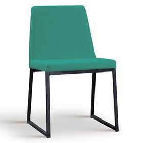 Cadeira Encke C/Pés em Aço Carbono - Azul Esverdeado