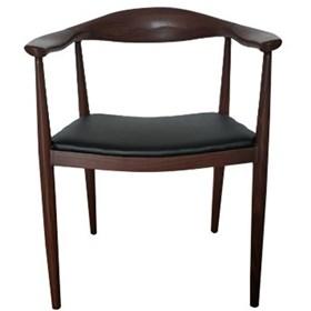 Cadeira Escandinava 52cm em Couro Ecológico e Madeira Natural