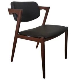 Cadeira Escandinava s/Braço 52cm em Couro Ecológico e Madeira Natural