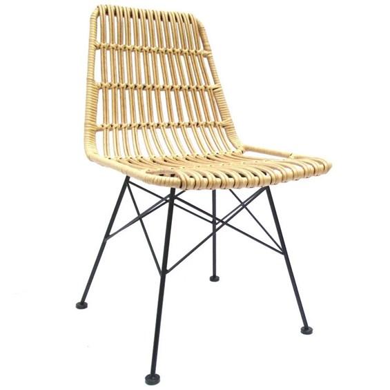 Cadeira Fibra Bege Plana em Aço Tratado e Fibra Sintética
