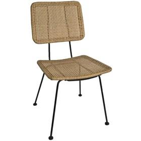 Cadeira Fibra Bege Quadrada em Aço Tratado e Fibra Sintética