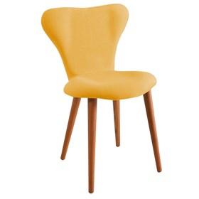 Cadeira Forky C/Pés em Madeira Maciça - Amarelo
