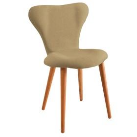 Cadeira Forky C/Pés em Madeira Maciça - Bege