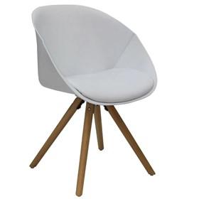 Cadeira Fussen C/Braço em Polipropileno e Madeira