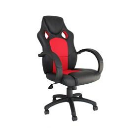 Cadeira Gamer Dabbur em Poliuretano - Preto/Vermelho
