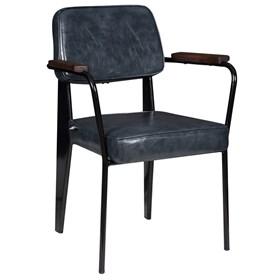 Cadeira George C/Braço em Metal e Couro