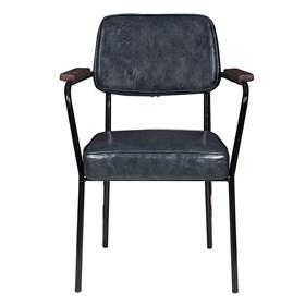 Cadeira George em Couro Ecológico - Cinza