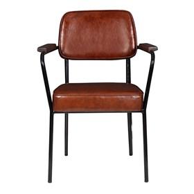 Cadeira George em Couro Ecológico - Marrom