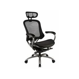 Cadeira Giratória Presidente Navan com Assento em Couro Ecológico