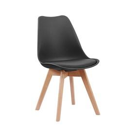 Cadeira Horus C/Base de Madeira Maciça - Preto