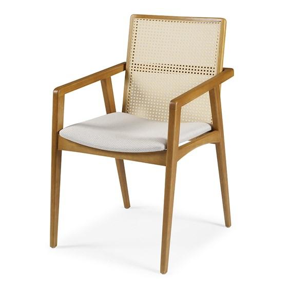 Cadeira Logan C/Braço em Madeira Maciça C/Tela