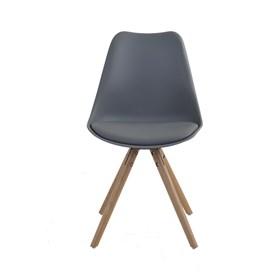 Cadeira Loki C/Base de Madeira Maciça - Cinza