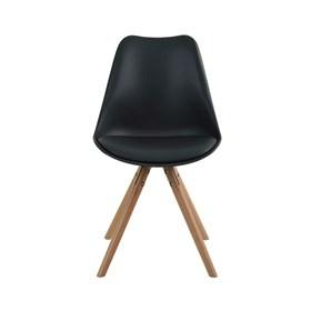 Cadeira Loki C/Base de Madeira Maciça - Preto