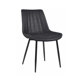 Cadeira Mateo em Couro Sintético C/Pés de Aço - Preto