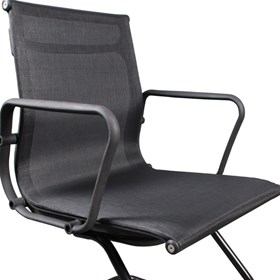 Cadeira Miriam com Base Fixa Preta em Mesh