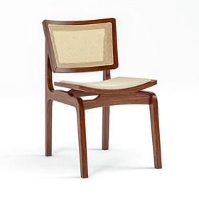 Cadeira Modesto em Madeira Maciça - Castanho/Bege