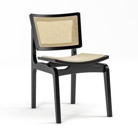 Cadeira Modesto em Madeira Maciça - Preto/Bege