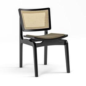 Cadeira Modesto em Madeira Maciça - Preto/Marrom