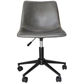 Cadeira Monaghan Giratória Cinza em Metal e Couro Ecológico