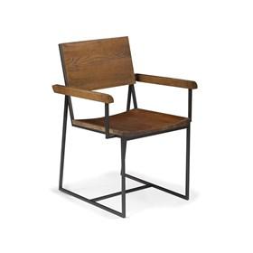 Cadeira Montreal C/Braço em Madeira Maciça e Aço