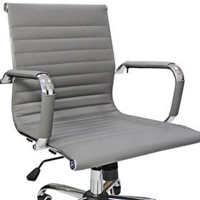 Cadeira Mourão para Escritório Giratória em Couro Cinza