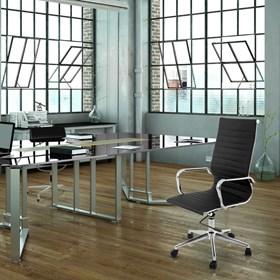 Cadeira Office Alta Hamilton C/Base Cromada - Preto