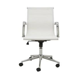 Cadeira Office Baixa Brendan em Tela Mesh C/Base Giratória - Branco